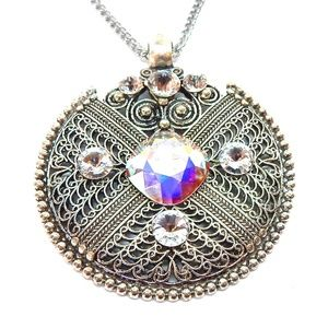 CRYSTAL OPAL IRON WORK MEDALLION NECKLACE NEW